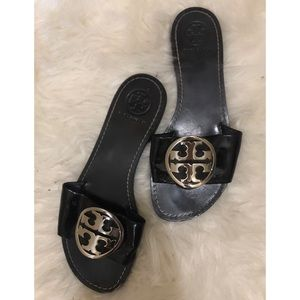 Tory Burch Black Leather Slides with Silver Logo